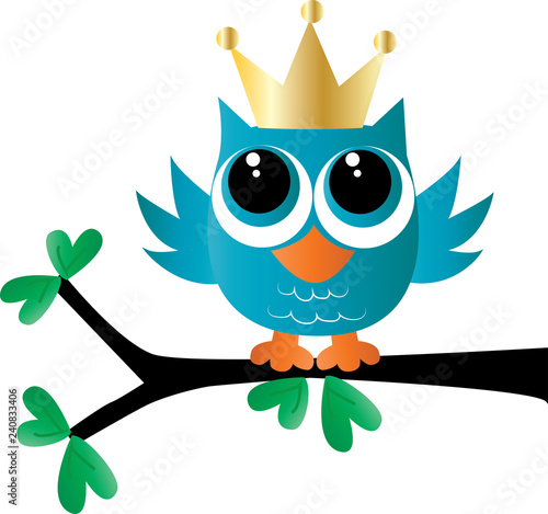 a sweet little blue owl with a golden crown