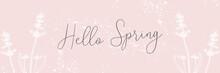 Hand Drawn Floral Vintage Pastel Pink Spring Banner Background