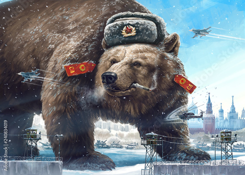 Zdjęcie XXL Grotesque (caricature) character. Formidable bear in a soldier's hat looks away West's and smokes. Comic image of Russia and the USSR. Propaganda cliche.