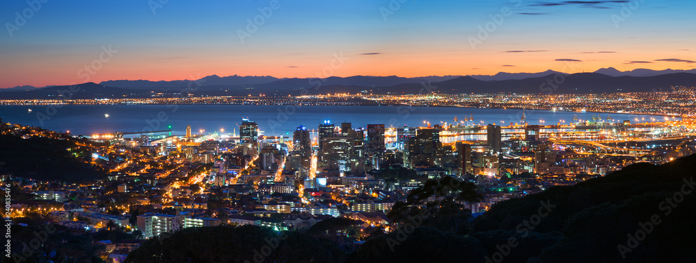 Fototapety, obrazy: Night Cape Town. Panoramic view
