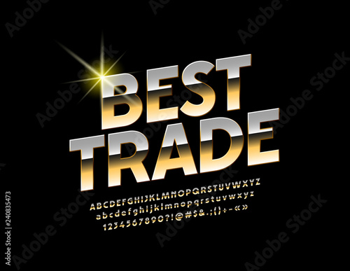 Vector golden Sign Best Trade  Chic glossy Font  Stylish Alphabet
