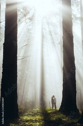 couple walking in forest in fog for engagement