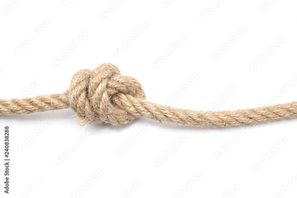 Fototapety, obrazy: Rope with knot on white background