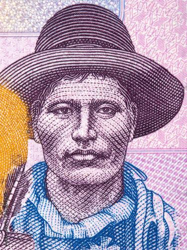 Fotografía  Pablo Zarate portrait from Bolivian money