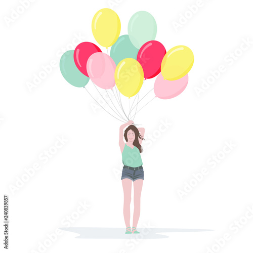 Photo  Beautiful young girl with a bunch of colorful balloons, vector illustration in flat style