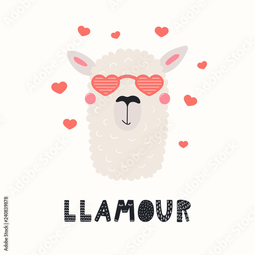 Printed kitchen splashbacks Illustrations Hand drawn Valentines day card with cute funny llama in heart shaped glasses, text Llamour. Vector illustration. Scandinavian style flat design. Concept for celebration, invite, children print.