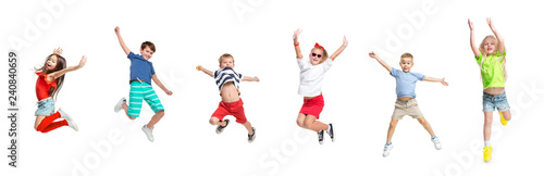 The kids dance school, ballet, hiphop, street, funky and modern dancers on white studio background Fototapeta