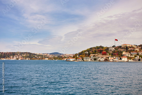 Bosphorus with a old town on a background
