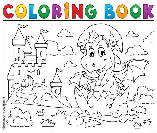 Coloring book dragon hatching from egg 2