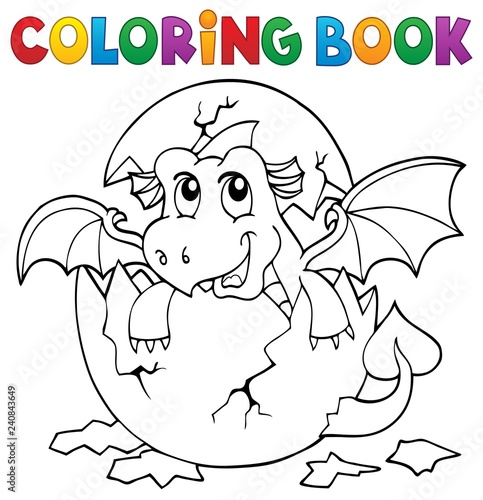 Coloring book dragon hatching from egg 3