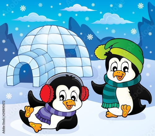Igloo with penguins theme 5