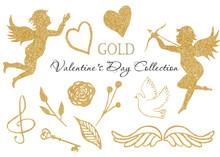 Watercolor Golden Angel, Heart...