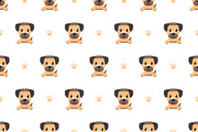 Vector Cartoon Character Border Terrier Dog Seamless Pattern For Design.