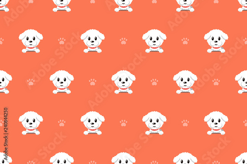 Photo Vector cartoon character bichon frise dog seamless pattern for design