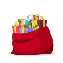 Santa Bag With Gifts. Vector Illustration.