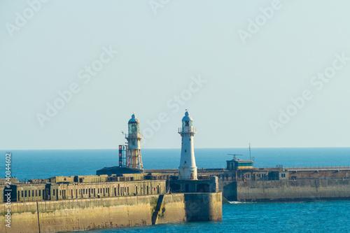 Foto op Canvas Poort Dover Lighthouses Harbour Leuchttürme Hafen