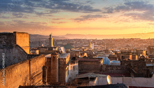 View of the old Medina in Fez ( Fes El Bali ) , Morocco at sunrise. The ancient city and the oldest capital of Morocco. One of the Imperial cities of Morocco. unesco world heritage site