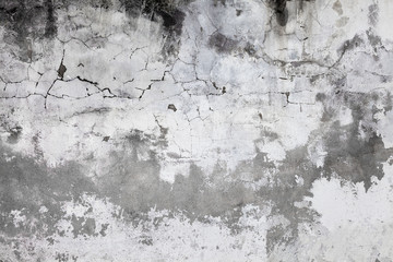 Cracked concrete wall covered with gray cement surface. Old grunge textures backgrounds. Plaster wall