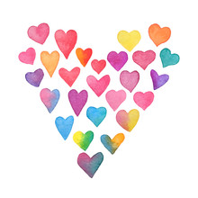 Watercolor Rainbow Hearts. Heart Shape Frame Isolated On White Background. Collection Of Hand Painted Color Hearts. Valentines Day Card. Vector Illustration
