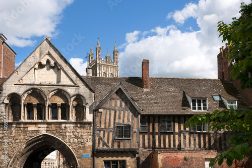 Photo  Historic architecture of St Marys Gate near Gloucester Cathedral, UK