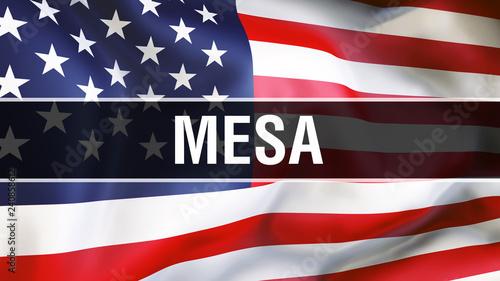 Fotografie, Obraz  Mesa city on a USA flag background, 3D rendering
