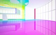 Leinwanddruck Bild - Abstract white and colored gradient glasses interior multilevel public space with window. 3D illustration and rendering.