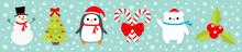 Merry Christmas Icon Set. Snowman Candy Cane Stick Red Bow. Penguin Bird, White Polar Bear Cub Wearing Santa Claus Hat, Scarf. Holly Berry Mistletoe. Fir-tree Flat Design. Blue Snow Background.