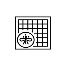 Black & White Vector Illustration Of Window Mosquito Net. Line Icon Of Fly Screen. Isolated Object