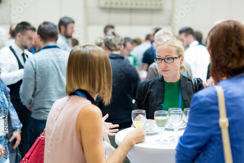 Fotografia  Expert people interacting during coffee break at business, medical or scientific conference