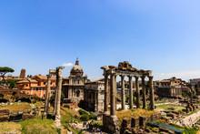 Forum Of Caesar In Rome, Italy. Architecture And Landmark Of Rome. Antique Rome - Roman Forum.