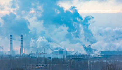 Smoke from pipes at the plant pollutes the environment
