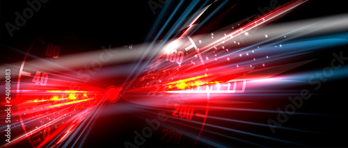 Fototapeta Racing car light in motion with checkered background
