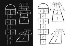 Bright Hopscotch Template. Vector Illustration. Black On White, White On Black
