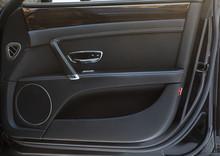 Open Door Of The Car Black Leather Car Interior