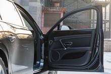 Open Door Of The Car Black Lea...