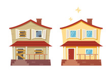 House Before And After Repair. Old Run-down House Remodeled Into Cute Traditional Suburban Cottage. Isolated Vector Illustration, Flat Cartoon Style.