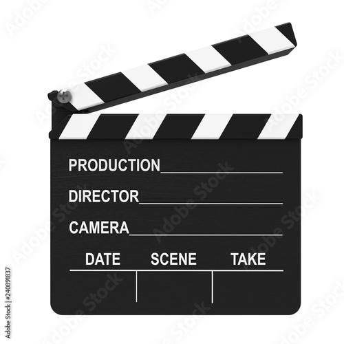 Filmklappe, Regieklappe isoliert weißer Hintergrund 3D Rendering Fototapete