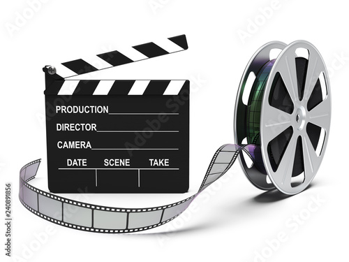 Filmstreifen, Filmrolle mit Regieklappe isoliert weißer Hintergrund 3D Rendering Fototapete