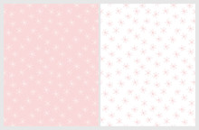 Hand Drawn Flowers Vector Patterns. Light Pink And White Color Design. Floral Repeatable Patterns. Pastel Colors. Light Pink And Whte Background.
