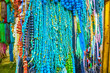 The turquoise stones beads in Jewelry shop of Cairo, Egypt