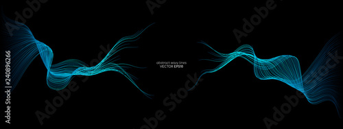 Fototapeta Abstract vector wave lines green and blue colors isolated on black background for design elements in concept technology, modern, science. A.I. obraz