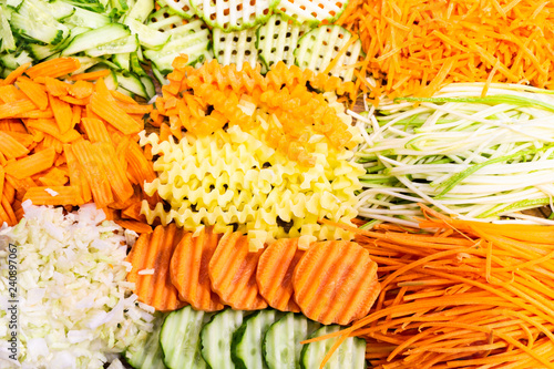 Fotografie, Obraz  Sliced Vegetables: Carrots, Zucchini, Beets Or Beetroot, Cabbage, Potatoes