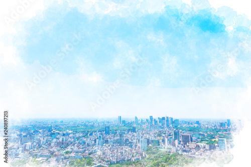 Printed kitchen splashbacks Light blue 東京の風景 Tokyo city skyline , Japan