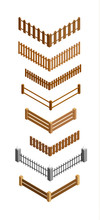 Set Of Tail Wooden Fences