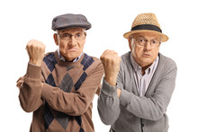 Two Angry Senior Men Gesturing With Hands