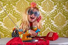 Funny Housewife Kid Girl Iron Chores Retro
