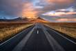 Scenic Road Through Grassy Fields to Snow-Capped Mountains in Iceland at Sunset