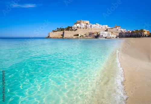 Peniscola skyline and castle beach Spain