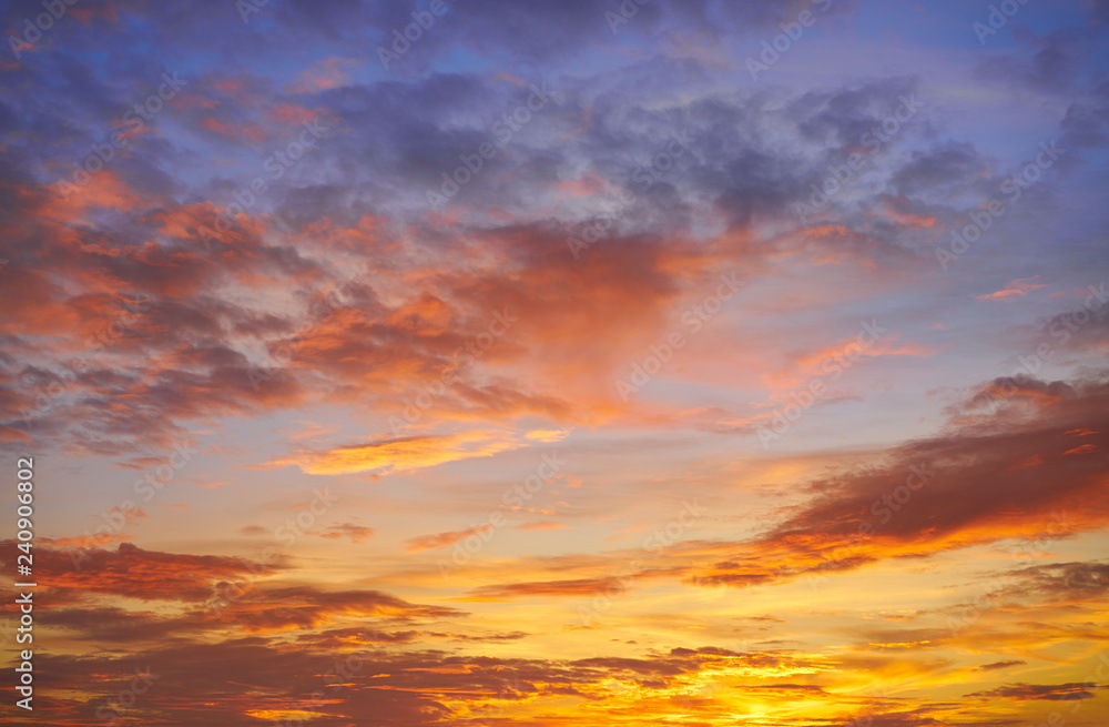 Fototapety, obrazy: Sunset sky clouds orange and blue