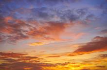 Sunset Sky Clouds Orange And B...